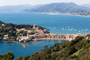 vacation concept with blue transparent sea to liguria