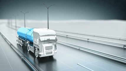 Blue gas truck on a highway front view looping animation