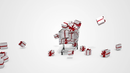 Gifts dropping in the trolley on white background