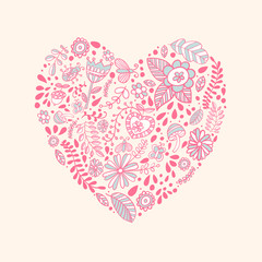 Heart shaped love vector cute pattern