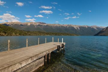 wooden jetty at lake Rotoiti in Nelson Lakes National Park