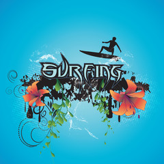 Surfing, surfboarder with flowers