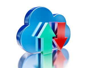 Blue glossy cloud and upload download arrows