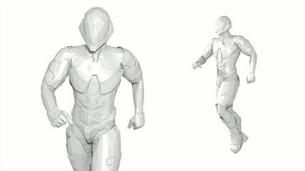 3D COMICS ( RENDER LOW POLYGON ) RUNNING SUPERHERO