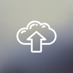 Cloud with arrow up thin line icon