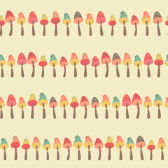 Amazing cute seamless vintage colorful mushroom pattern