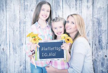 Muttertag 2015 Tafel Mama mit Kindern