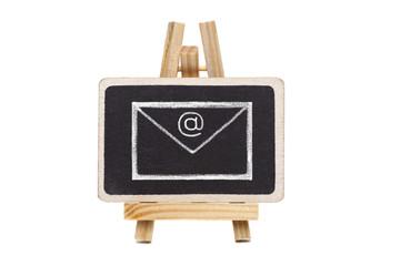 Drawing of envelope on blackboard