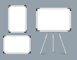 Set of Blank White Boards Horizontal and Vertical