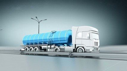 Blue gas truck on a highway side view looping animation