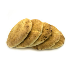Pita bread on a white background