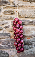 red onions string over country wall