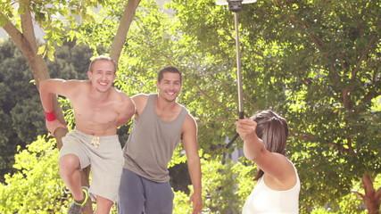Free runners taking photo