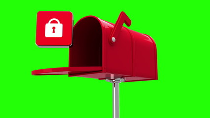 Lock icon in the mailbox on green background