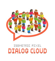 Dialog cloud made up of isometric pixel art people