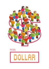 Dollar made up of isometric pixel art style people
