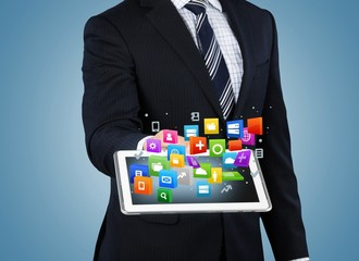 Monitor. Touch screen ,touch- tablet in hands