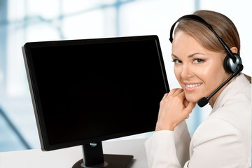 Telephone. Bright Smile Operator with Monitor
