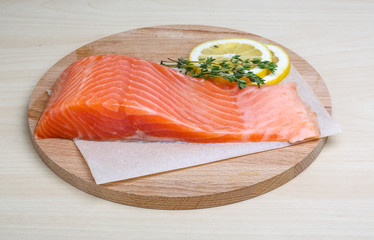 Salted Salmon on the wood background