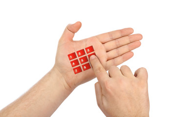 Hand with virtual phone buttons