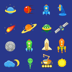 Space icons set of rocket  galaxy  planet ufo sun