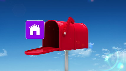 House symbol in the mailbox on sky background