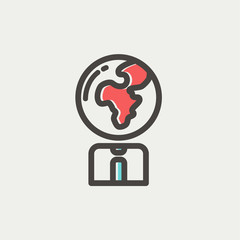 Human with globe head thin line icon