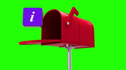 Information symbol in the mailbox on green background