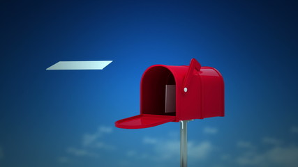 Letters coming out of the mailbox on sky background