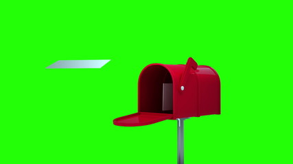 Letters coming out of the mailboxe on green background