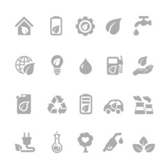 Set of eco energy icons with nuclear  and solar power  electric