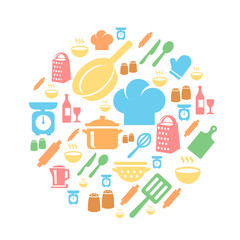 Kitchen and cooking icons background
