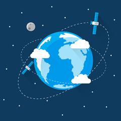 Blue Earth in space Modern Flat Design
