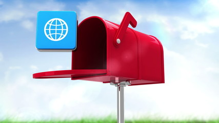 Internet icon in the mailbox on blue sky background