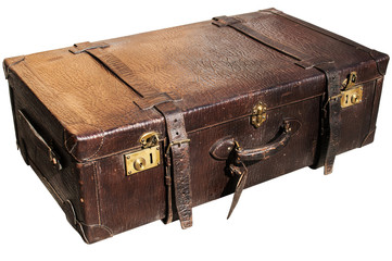 Old closet locked retro vintage leather suitcase isolated