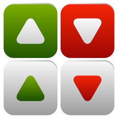 Rounded arrows, arrowheads up and down. Minimal Buttons or icons