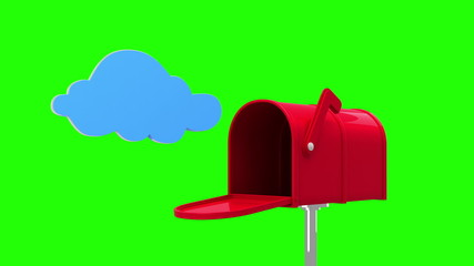 Cloud symbol in the mailbox on green background