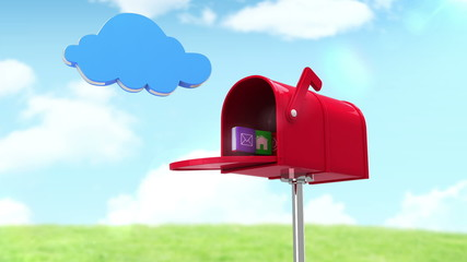 Internet icons in the mailbox on cloudy background