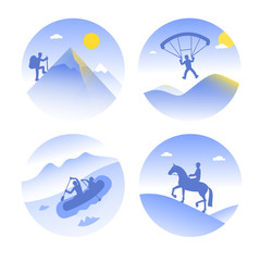 4 vector icons of mountain types of summer tourism