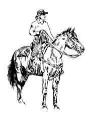 cowgirl on a horse vector sketch
