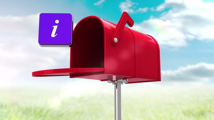 Information symbol in the mailbox on cloudy background