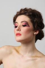 beautiful girl make-up close-up