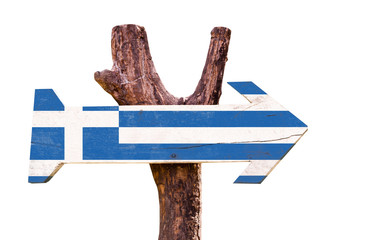 Greece Flag wooden sign isolated on white background