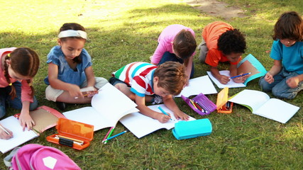 School children doing homework on grass
