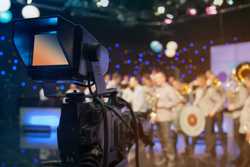 Television studio with camera and lights - recording TV show