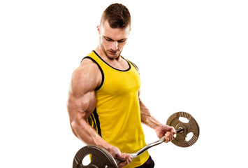 Muscular Man Doing Heavy Barbell Exercise