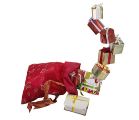 gifts boxes in the red bag