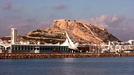 Sailing along Alicante coast in a summer day