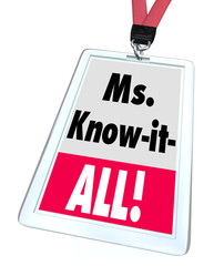 Ms. Know-It-All Name Badge Tag Customer Support Service Knowledg