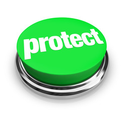 Protect Word Round Green Button Safeguard Preventing Danger Avoi